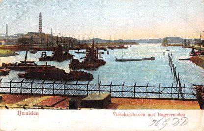 Ansichtkaart IJmuiden Visschers haven met baggermolen 1906 Vuurtoren Binnenvaart schepen HC2274