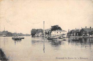 Ansichtkaart Alphen aan den Rijn Rijngezicht bij 's Molenaars 1910 Binnenvaart schepen HC2301