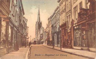 Ansichtkaart Gouda Hoogstraat met Kleiweg Sigarenwinkels en R.K. Kerk HC2397