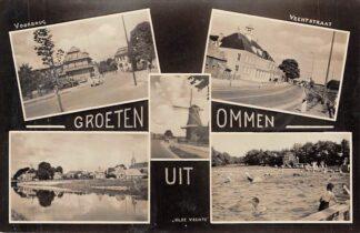 Ansichtkaart Ommen Groeten uit 1957 Molen Voorbrug Vechtstraat Zwembad Olde Vechte HC2420