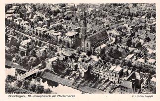 Ansichtkaart Groningen St. Josephkerk en Rademarkt 1927 KLM Luchtfoto 27-192 HC2452