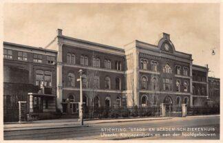 Ansichtkaart Utrecht Stichting Stads- en Academisch Ziekenhuis Klassepaviljoen en een der hoofdgebouwen 1938 HC2544