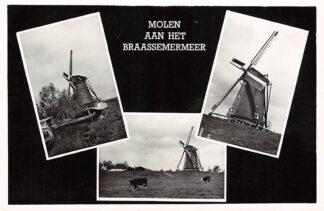 Ansichtkaart Oude Wetering Molen aan het Braassemermeer 1957 HC2589