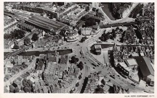 Ansichtkaart Rotterdam voor 1940 Hofplein met omgeving 1946 KLM Luchtfoto 15777 HC2592