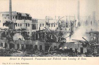 Ansichtkaart Rotterdam Brand te Feijenoord v.d. Lugt 1902 Panorama met Fabriek van Laming & Sons HC2618