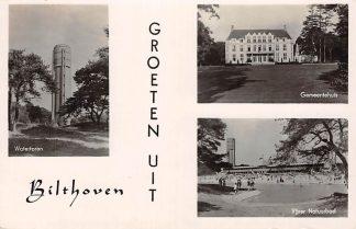 Ansichtkaart Bilthoven Watertoren Gemeentehuis Vijver Natuurbad 1941 HC2654