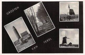 Ansichtkaart Texel Groeten 1951 Vuurtoren Molen De Dennen Kerk HC2715