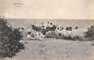 Ansichtkaart Naarden Valkeveen Strand met ezelwagen en kinderen 1916 HC2718