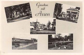 Ansichtkaart Assen Groeten uit 1950 Nieuwe Huizen Bus Zwembad HC2774
