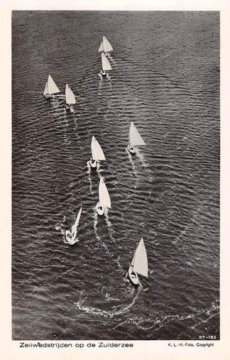 Ansichtkaart Zeilen Zeilwedstrijden op de Zuiderzee 1927 KLM Luchtfoto 27-180 HC2795