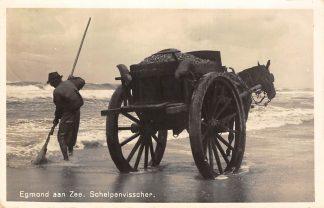 Ansichtkaart Egmond aan Zee Schelpenvisscher op het strand 1937 Paard en wagen HC2908