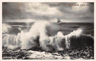 Ansichtkaart Egmond aan Zee Groeten uit 1931 Branding en zeilschip HC2911