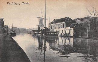 Ansichtkaart Gouda Turfsingel Veer pont Molen Binnenvaart schepen Gompers HC2933