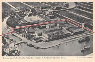 Ansichtkaart Gouda Bolwerk Jaagpad Onder de Boompjes Goedewaagen's Pijpen en Aardewerk fabrieken KLM Luchtfoto HC2935