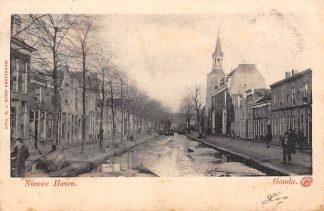 Ansichtkaart Gouda Nieuwehaven met ijs Brandweer kazerne en Vrouwetoren 1901 HC2939