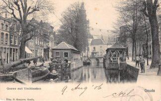 Ansichtkaart Gouda Gouwe met Vischbanken Gompers 1906 HC2959