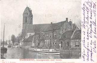 Ansichtkaart Oudewater IJselgezicht met toren 1902 Binnenvaart schepen HC2983