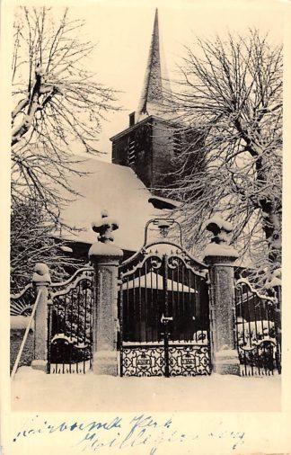 Ansichtkaart Hillegersberg Hervormde Kerk in de sneeuw Winter 1945 Rotterdam HC2993