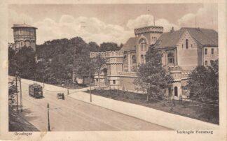 Ansichtkaart Groningen Verlengde Heerweg met gevangenis tram en watertoren 1917 HC3062