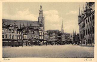 Ansichtkaart Gouda Markt 1942 Stadhuis Winkels en St. Jan HC3089