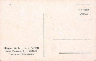 Ansichtkaart Fantasie Gouda Reclame v.d. Veer Heeren- en Kinderkleeeding LangeTiendeweg 3 Illustrator Gerstenhauer HC3098