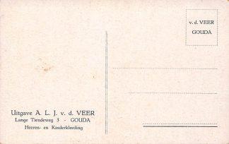 Ansichtkaart Fantasie Gouda Reclame v.d. Veer Lange Tiendeweg 3 Heeren- en Kinderkleeding Illustrator Gerstenhauer HC3099
