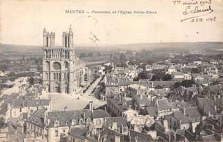 Ansichtkaart Mantes Panorama et l'Eglise Notre-Dame 1903 Frankrijk France HC3192