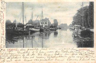 Ansichtkaart Apeldoorn Kanaal met binnenvaart schepen in 1900 HC3276