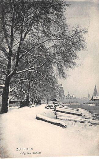 Ansichtkaart Zutphen 1907 Op den houtwal in de sneeuw HC3293