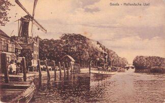 Ansichtkaart Gouda Hollandsche IJssel Molen Stoomboot naar Rotterdam Reederij de IJssel 1912 HC3308