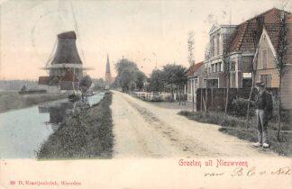Ansichtkaart Nieuwveen Groeten uit 1903 Molen Uitg. Kraaijenbrink HC3352