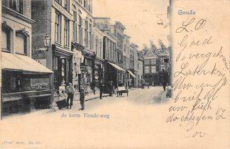Ansichtkaart Gouda Korte Tiendeweg hoek Markt en Stoofsteeg Vivat 405 HC3367