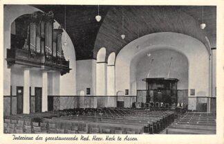 Ansichtkaart Assen Interieur der gerestaureerde Ned. Hervormde Kerk Orgel en Preekstoel HC3374