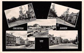 Ansichtkaart Assen Groeten uit Station Plataanweg Vogelkerslaan Parkstraat HC3375