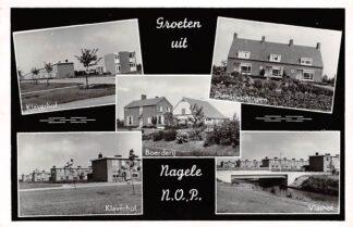 Ansichtkaart Nagele Groeten uit N.O.P. Klaverhof Dienstwoningen Vlashof Boerderij Flevoland HC3381