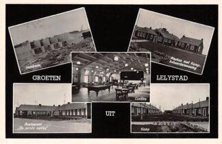 Ansichtkaart Lelystad Groeten uit 1955 Sluisbouw Restaurant Keuken met Kampbeheerderswoning Cantine Kamp HC3402