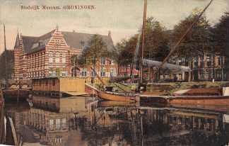 Ansichtkaart Groningen Stedelijk Museum 1925 Binnenvaart schepen HC3616