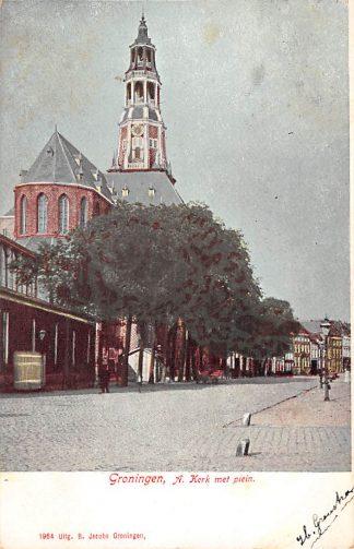 Ansichtkaart Groningen A Kerk met Plein 1904 HC3661