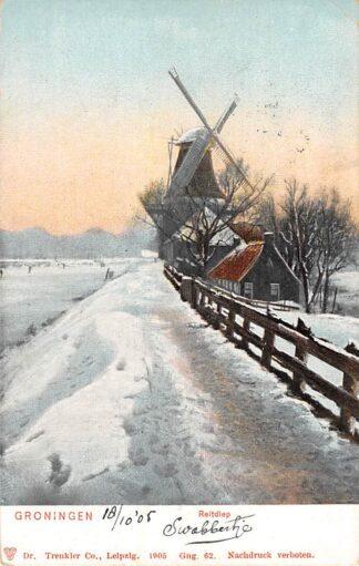 Ansichtkaart Groningen Reitdiep 1905 Molen in de winter in de sneeuw HC3672