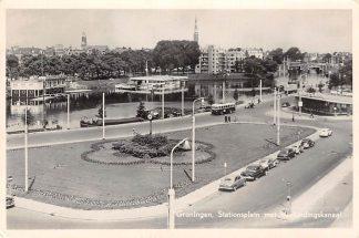 Ansichtkaart Groningen Stationsplein met Verbindingskanaal Bus Auto HC3678