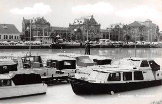 Ansichtkaart Groningen Hoofdstation 1965 Station Plezier schepen HC3679