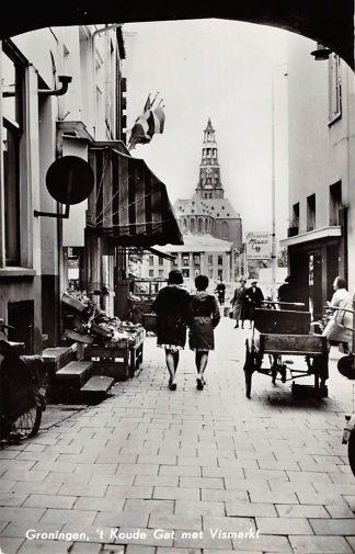 Ansichtkaart Groningen 't Koude Gat met Vismarkt 1963 Bakfiets HC3696