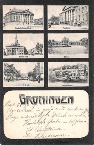 Ansichtkaart Groningen Groeten uit 1906 Stadhuis Academie Korenbeurs Station A-straat en Noorderhaven HC3793