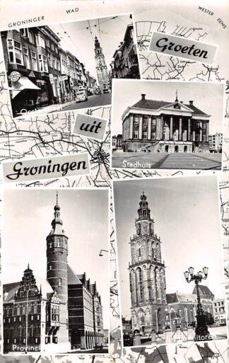 Ansichtkaart Groningen Groeten uit 1961 Ooststraat Stadhuis Martinitoren en Provinciehuis HC3795