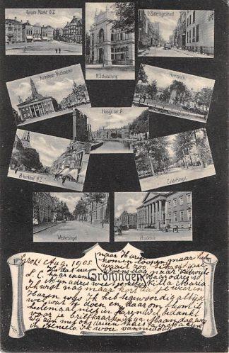 Ansichtkaart Groningen Groeten uit 1905 10-luik Kleinrondstempel Haren 1905 HC3798