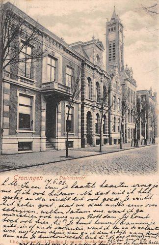 Ansichtkaart Groningen Stationsstraat Gereformeerde Kerk 1902 Kleinrondstempel Nigtevegt HC3845