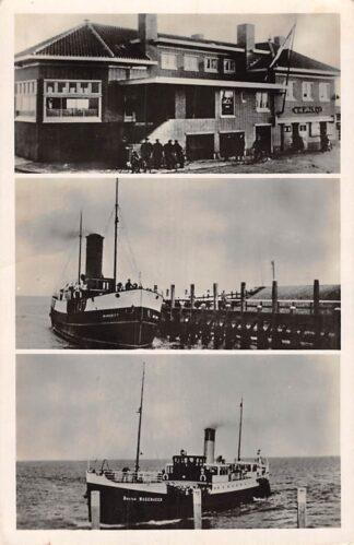 Ansichtkaart Oudeschild Stoombootskoffiehuis met s.s. Marsdiep en Dokter Wagemaker Scheepvaart Veer pont HC3940