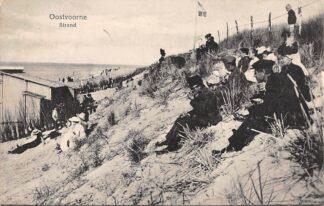 Ansichtkaart Oostvoorne Strand met volk in de duinen 1919 HC3950