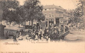 Ansichtkaart 's-Gravenhage Brug Boekhorststraat Paard en wagen en volk HC3969