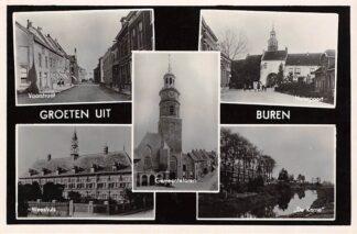 Ansichtkaart Buren (GD) Groeten uit 1942 Voorstraat Weeshuis Huizepoort De Korne Gemeentetoren Betuwe HC3976
